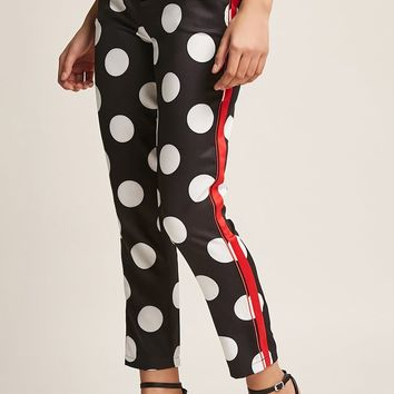 Side-Stripe Polka Dot Pants