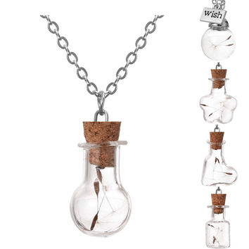 Wishing Bottle Necklace Silver Plated with Natural Dried Dandelion Glass Vial Jar Handmade Choker Necklace Pendant for Women