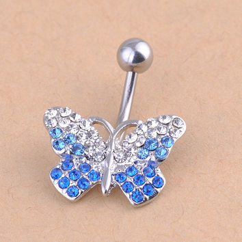 New Charming Dangle Crystal Navel Belly Ring Bling Barbell Button Ring Piercing Body Jewelry = 4804874052