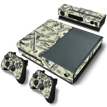 US Dollar Waterproof Removable Vinyl Sticker Protective Cover film Decal for XBOX One Console+2 Controller Skins sticker