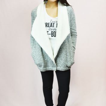 get cozy sherpa sweater cardigan - heather grey