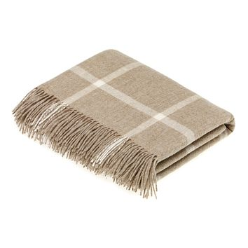 Merino Lambswool Windowpane Beige Throw Blanket