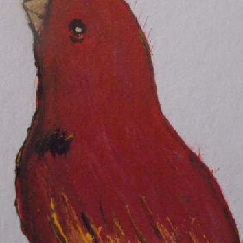 Bird  Aceo Original Acrylic Painting Red Art painting  Bird  Art aceo size 6.40 / 8.96 cm / .2.5 x 3.5 Inch