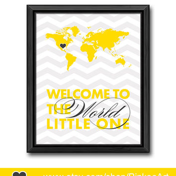yellow gray baby wall decor travel theme nursery art welcome to the world quote world map kids wall art map print for kids new baby gift