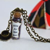 12pcs/lot we are all mad here magical neckalce with a teacup charm bronze tone alice in wonderland necklace