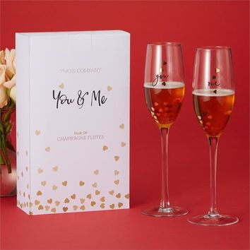 You and Me -- Hearts of Gold Champagne Flute Set
