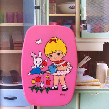 Kawaii pink Japanese vintage lunch box from Japan in 80s