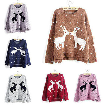 New Womens Ladies Christmas Reindeer Fairisle Xmas Novelty Jumper Sweater KnitHU