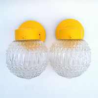 Glass Globe Fixtures Round Ball Mid Century Modern Clear Glass Orb Lights Lamps Exterior Bathroom Wall Mount Lights Pair of 2 Decor Yellow!