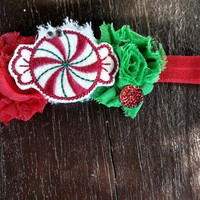 SALE | Christmas Headbands | Peppermint Headbands | Shabby Headbands | Infant Headbands | Christmas Hairbows | Red and Green Bows