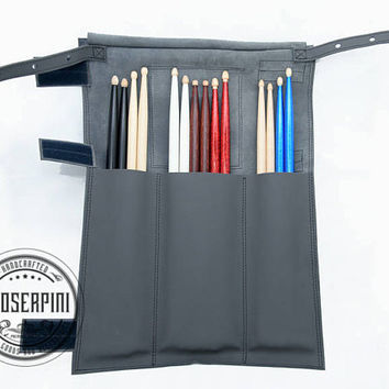 Stick bag, Titanium Gray Leather, Personalized Drumstick case, Drumstick holder, Drumsticks bag, Drum accessory, Musician case, Artistic