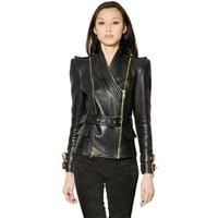 BALMAIN Belted Kimono Nappa Leather Jacket