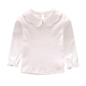 Autumn Winter Kids Baby Girl Clothes T-Shirt High Quality Cotton Soft  Baby Solid Long Sleeves Sweet  Warm Tops Blouse Clothing
