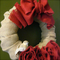 FREE SHIPPING Burlap Roses Wreath With Little Bird Clip- 12 in Wreath Home Wall Decor