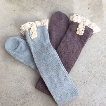 Button + Lace Knit Boot Socks