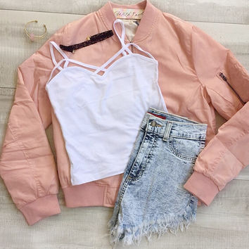 Sugar Bomber Jacket - Blush