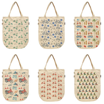 Women Vehicle Pattern Printed Canvas Tote Shoulder Bags WAS_39