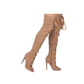 Suede Thigh High Open Toe Boots
