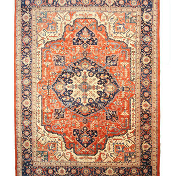 Hand-knotted Wool Rust Traditional Oriental Persian Heriz Rug (13'3 x 17'9)