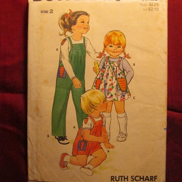 SALE Uncut 1970's Butterick Sewing pattern, 4184! Size 2 Toddlers/Kids/Child/Girls or Boys/Overall's/Jumper Dresses/T-Shirts/Handbags/Appliq