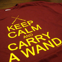 Keep Calm And Carry A Wand Harry Potter Geek Wizard by SupremeGeek