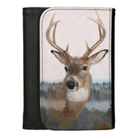 Whitetail Deer Double Exposure Leather Wallet