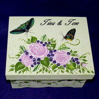Hand Painted Wedding Box Roses Wood Wedding BOX Butterflies Personalized Decorative Wood Box Wedding Box Bride Box