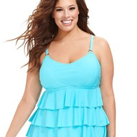 Island Escape Plus Size Tiered-Ruffle Tankini Top