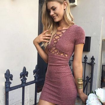SEXY WAIST HOLLOW CROSS SHORT SLEEVE KNIT DRESS