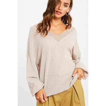 Waffle Textured V-Neck Top - Stone Mauve  ONLY 1 LARGE LEFT