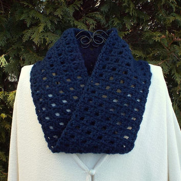 Navy Blue Infinity Scarf - Womens Cowl - Circle Scarf - Ladies Neck Warmer - Mobius Scarf - Spring Fashion Scarf
