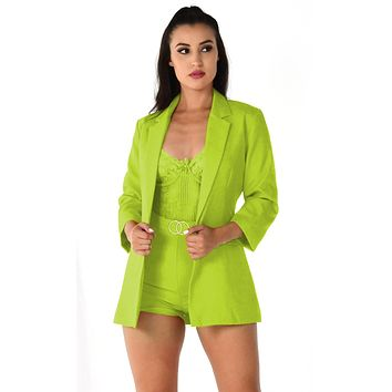 She's A '80s Lady Neon Green 3/4 Sleeve Button Blazer High Waist Short Two Piece Set Romper