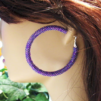Large Hoop Earrings - Beaded Hoop Earrings - Purple Beaded Hoop Earrings - Womens Earrings - Hoop Earrings - Jewelry