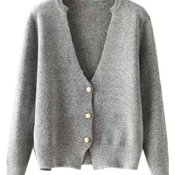 Gray V-neck Knitted Cardigan