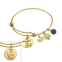 love this life Gold Tone Stainless Steel Sodalite ''He Is Love'' Cross & ''Faith'' Heart Charm Bangle Bracelet (Yellow)