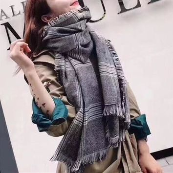 """Burberry"" Women Fashion Logo Letter Embroidery Stripe Tassel Multicolor Scarf Shawl"