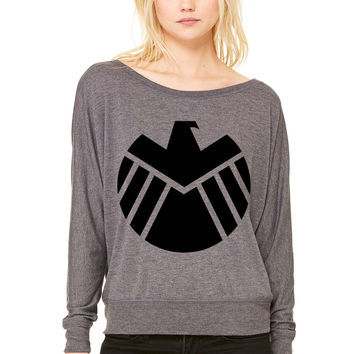 Agents of SHIELD WOMEN'S FLOWY LONG SLEEVE OFF SHOULDER TEE