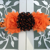 Orange and black Halloween polka dot headband for little girls - headband for babies - Halloween headband