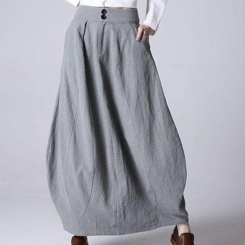 Light grey linen skirt maxi skirt women skirt (1192)