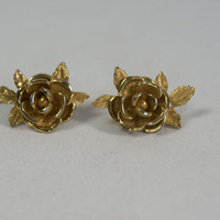 Vintage Sarah Coventry American Beauty Rose Earrings