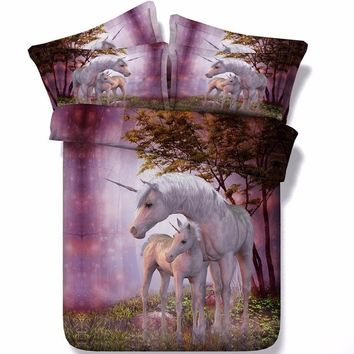 Unicorn 3D Oil Painting Twin/Full/Queen/King Size 3PCS Bedding Set Quilt Cover Bed Sheet 2*Pillowcase Bedroom Furniture