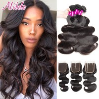 Alibele Brazilian Body Wave Bundles With Closure brazilian hair weave bundle with closure NonRemy Human Hair Bundle With Closure