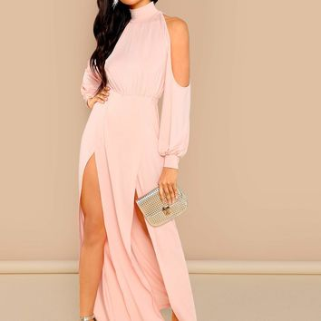 M-Slit Front Cold Shoulder Dress
