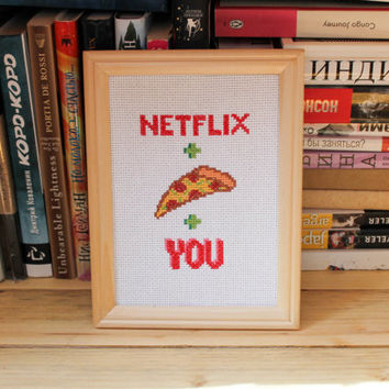 Funny TV cross stitch, Netflix and chill home decor, Modern cross stitch, you me netflix, netflix and pizza, framed cross stitch gift