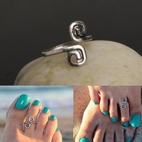 Silver Double Spiral Toe Ring