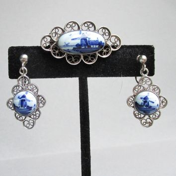 Vintage Dutch Windmills Delft Blue & White Porcelain Sterling Silver Filigree Pin, Earrings Set