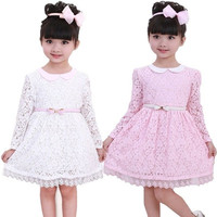 Kids Toddler Girls Princess Flower Dress With Belt Fairy Party Lace Skirt 2-7Y = 1945900484