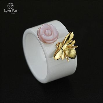 Lotus Fun 925 Sterling Silver Rings for Women Unique Mother of Pearl Natural Rose Flower Stone Bee Statement Bands Fine Jewelry
