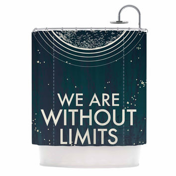 "Sam Posnick ""We Are Without Limits"" Blue Typography Shower Curtain"