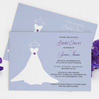 Wedding Gown Bridal Shower Invitation Template - 5x7 Eggplant & Periwinkle Wedding Dress Bridal Shower Editable PDF Template - DIY You Print